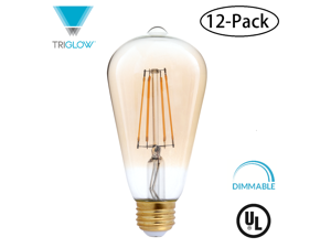 TriGlow T98801-12 (12-Pack) 4 Watt (40W Equivalent) LED ST19 Amber Glass, 2200K Color, DIMMABLE 400 Lumens, E26 Medium Base, Traditional Amber Glass Light Bulbs