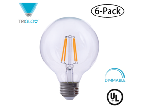 TriGLow T98839-6 (6-Pack) LED 4 Watt (60W Equivalent) Clear Glass G40 Globe Bulb, DIMMABLE 2700K (Warm White), 500 Lumens, E26 Base LED Light Bulb