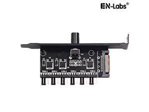 Enlabs PCIFANCO6S 6 Channel 4-pin Fan speed Controller w/ OFF Switch - Fan RPM Speed Reduce Regulator w/ PCI Slot Cover - SATA 15pin to 6 Port 4Pin Case/CPU Fan Hub Splitter - 3pin fan Compatible