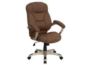 High Back Brown Microfiber Contemporary Executive Swivel Chair with Arms