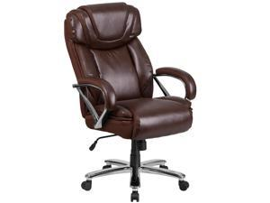 HERCULES Series Big & Tall 500 lb. Rated Brown Leather Executive Swivel Chair with Extra Wide Seat