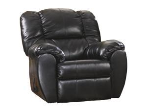 Signature Design by Ashley Dylan Faux Leather Rocker Recliner in Onyx Faux Leather