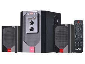beFree Sound BFS-40 2.1 Channel Surround Sound Bluetooth Speaker System Red
