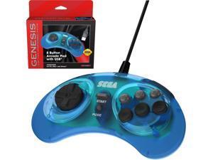 Retro-Bit Official Sega Genesis 8-Button Arcade Pad - USB Port - Clear Blue - PC&#59; Mac&#59; Linux