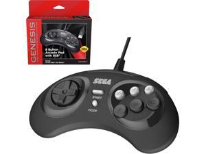Retro-Bit Official Sega Genesis 8-Button Arcade Pad- USB Port - Black - PC/Mac