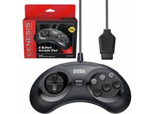 Retro-Bit Official Sega Genesis Controller 6-Button Arcade Pad - Clear BlACK
