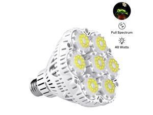 SANSI 40W Full Spectrum Ceramic LED Grow Light Blub, PPF 98.28µmol/s, Daylight LED Plant Light Bulb, 63 LED Chips, E26 Socket, Indoor Gardening for the Home, Indoor Farming, Residential, Office Plants