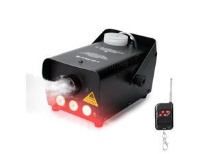Virhuck 500W Portable RC Fog Machine with Wireless Remote Control Equipped with LED Lights, Professional Smoke Machine, Smoke Machine for Halloween Weddings Christmas Parties Dance/Drama