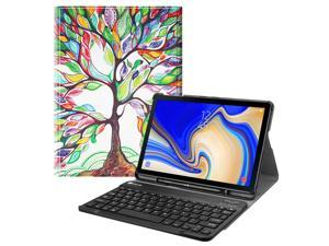 Fintie Bluetooth Keyboard Case for Samsung Galaxy Tab S4 10.5 2018 Model SM-T830/T835/T837, Slim Stand Cover Love Tree