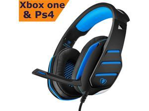Beexcellent Gaming Headset | PS4 Xbox One Headset |  Noise Cancelling Wired Stereo Bass Game Xbox Headphones Over-ear with Microphone LED Light Volume Control Splitter for PC Laptop Tablet (Blue)