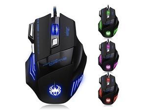 Zelotes T80 Professional LED Optical 7200 DPI 7 Button USB Wired Gaming Mouse Mice for Pro Gamer (Black)