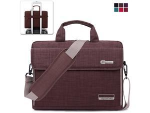 BRINCH Laptop Bag, Slim Water Resistant Laptop Messenger Bag Portable Laptop Sleeve Case Shoulder Bag Briefcase Handbag with Strap for Up to 15.6 Inch Laptop / NoteBook Computer Men / Women,Brown