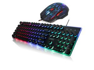 ZERODATE J40 Gaming Keyboard and Mouse Combo, USB Wired Lighted Keyboard LED Backlit Keyboard and 5500DPI Mouse Set for Computer Gamer Office