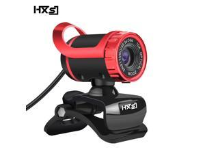 HXSJ A859 Webcam 480P HD, Webcam Skype Camera Wide Angle with Microphone USB Plug and Play Web Cam Manual Focus HD Lens for Computer PC Laptop- (Red)
