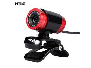 HXSJ A860 USB2.0 480P HD Webcam Camera Web Cam with miniphone MIC for Android TV Rotatable Computer Camera Web cam- (Black+Red)