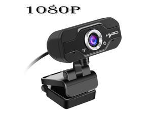 HXSJ S60 1080P USB HD WebCam Web Camera Video with Mic Microphone Clip-on for MSN Skype Desktops Computer PC Android TV, 1920 * 1080 Dynamic Resolution