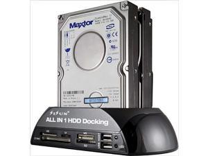 "Hard Drive Docking Station For SATA and IDE, USB to 2.5/3.5 Inch SATA IDE Dual bay External Enclosure, All in 1 Card Reader XD/TF/MS/CF/ SD card, USB Hub function. for 2.5"" 3.5"" IDE SATA I/II/III HDD"