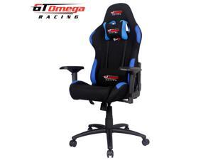 GT Omega PRO Racing Office Gaming Chair Black with side Blue Fabric