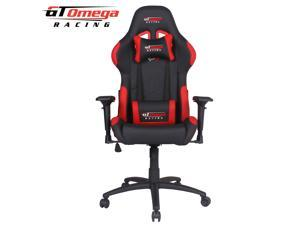 GT Omega PRO Racing Office Gaming Chair Black and Red Leather