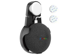Ampulla Google Home Outlet Wall Mount - Wall Hanger Cable Holder for Google Home Mini Voice Assistants (Black)