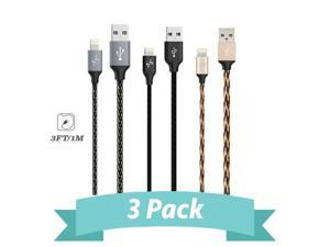 SyncTech 3 Feet Lightning Cables 3-Pack Aluminum Braided Fishnet Series Tangle Free iPhone Xs Max/Xs/Xr/X/8/7/6/6s/5/Plus iPad Mini/Air/Pro