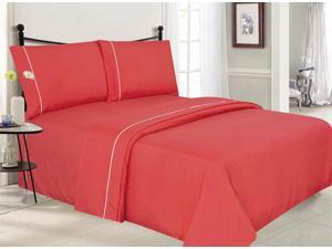Solid Luxury Sheet Set With White Piping - Coral
