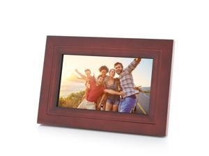 """iDeaPLAY 7"""" Touch Screen 8GB WiFi Digital Photo Frame Wooden Picture Album support iOS Android App - Espresso Color"""