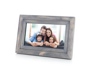 """iDeaPLAY 7"""" HD Touch Screen WiFi Digital Photo Frame Wood Photo Album support iOS Android App - Driftwood Color"""