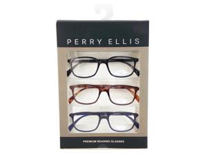 d25e6fd0deab83 Perry Ellis Mens 3 Multi Pack Plastic Reading Glasses +1.5 Blk Dem Blu