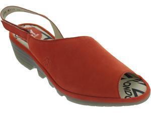 b3b2e080 Fly London Palp Women's Poppy Orange Leather Wedge Heel Peep Toe Sandals New