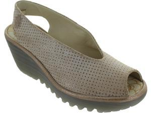0b2accf5f40f9 Fly London Yazu Women's Perforated Leather Slingback Peep Toe Platform Heels  New