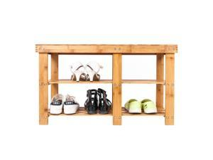 100 Natural Bamboo Shoe Bench Hallway Bench Shoe Storage Shelf Rack Organizer