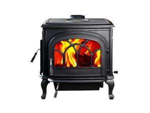 Hiflame 2100sq ft heating area 75000BTU/H Stallion HF737UPB cast iron large wood burning stove wood fireplace