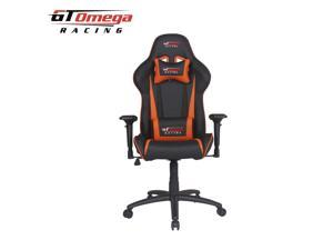 GT Omega PRO Racing Office Gaming Chair Black Next Orange Leather
