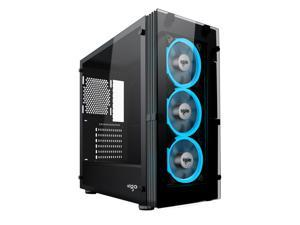 Aigo ATLANTIS Mid-Tower Computer Gaming Case with Tempered Side Panel and 3 Ice Blue LED Ring Fans