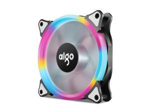 AIGO AigoDIY 12cm 120mm Computer PC Cooling Case Fan with LED Halo Ring, 3-pin/LP4, Anti-Vibration Pads
