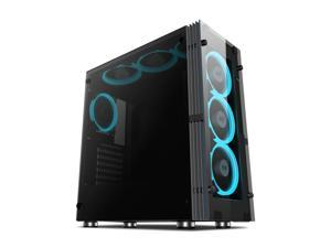 Aigo ATLANTIS Mid-Tower ComputerGaming Case Tempered SPCC side panel with 7pcs 120mm LED ring fans ice blue