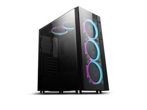 Aigo Black Technology ATX Mid Tower Acrylic Panel Gaming Computer PC Case USB 3.0 Port (Black Technology With C5 Kit) - Black