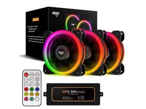 Aigo Aurora DR12 3IN1 Case Fan Kit - 3 RGB LED 120mm High Performance High Airflow Adjustable Colorful Fans with Controller and ...