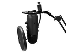 Black Shock Mount Compatible With Blue Yeti and Blue Snowball Mics Eliminates Noise From External Vibration