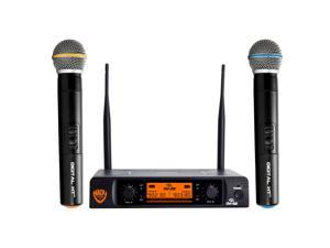 """Nady DW-22 Dual Digital Wireless Handheld Microphone System – Ultra-low latency with QPSK modulation - Dual XLR and mixed ¼"""" outputs – The most affordable true digital system available today!"""