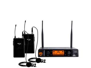 """Nady DW-22 Dual Digital Wireless Lapel Microphone System –Ultra-low latency with QPSK modulation - XLR and ¼"""" outputs – UHF range – The most affordable true digital system available today!"""