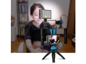 PULUZ 3 in 1 Live Broadcast LED Selfie Light Smartphone Video Rig Kits with Microphone + Cold Shoe Tripod Head for iPhone, Galaxy, Huawei, Xiaomi, HTC, LG, Google, and Other Smartphones