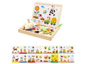 Happy Little Farm- 100-Piece Magnetic Jigsaw Puzzle-  Wonderful Toy Choice for Kids over 3-Year-Old- Sliding White Board Provided for Creativity- Nurturing- Involving Education with Entertainment