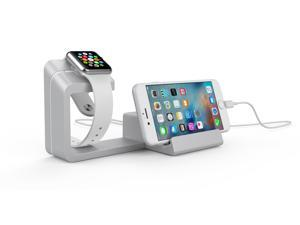 Dual 2 in 1 Charging Dock Stand Station With Charger Holder for Apple Watch & iPhone/all Smartphones(Silver)