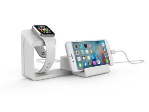Dual 2 in 1 Charging Dock Stand Station With Charger Holder for Apple Watch & iPhone/all Smartphones(White)