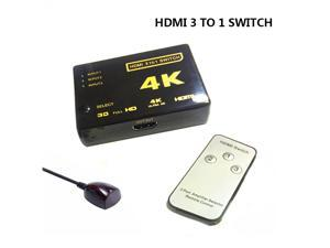 3-Port HDMI Switch, Supports 4K, Full HD1080p, 3D with IR Remote