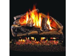 Peterson Real Fyre 24-inch Charred Rugged Split Oak Log Set With Vented Natural Gas Ansi Certified G46 Burner - Variable Flame Remote