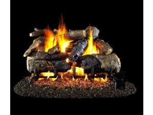 Peterson Real Fyre 18-inch Charred American Oak Log Set With Vented Natural Gas Ansi Certified G46 Burner - Electronic On/Off Remote