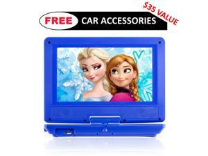 "Portable DVD Player for Car, Plane & more - 7 Car & Travel Accessories Included ($35 Value) - 9"" Swivel Screen - Whopping 6 Hour Battery Life - Perfect Portable DVD Player for Kids"